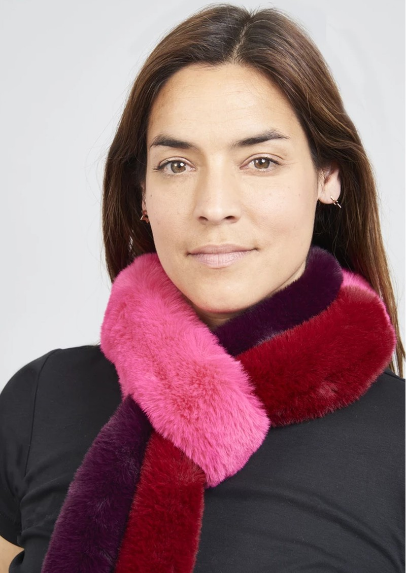NOOKI Patchwork Pasha Faux Fur Scarf - Fuchsia & Red main image