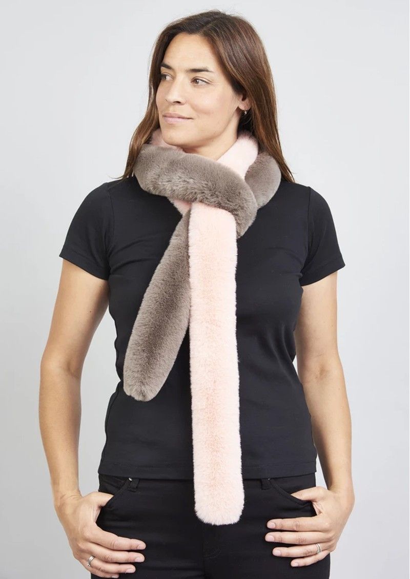 NOOKI Patchwork Pasha Faux Fur Scarf - Pink & Mink main image