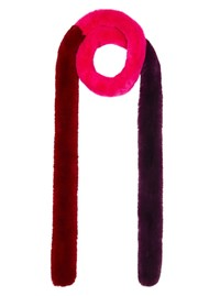 NOOKI Patchwork Pasha Faux Fur Scarf - Fuchsia & Red