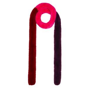 Patchwork Pasha Faux Fur Scarf - Fuchsia & Red
