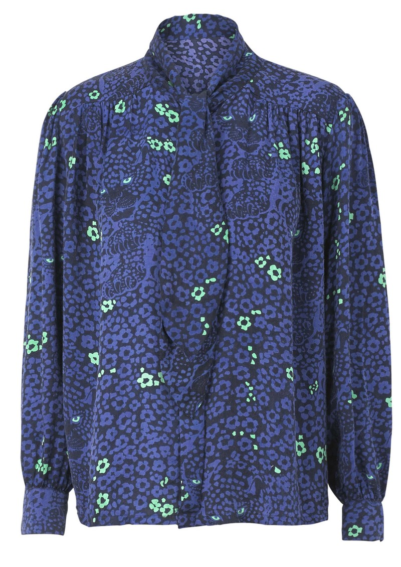 BAILEY & BUETOW Bex Blouse - Blue Leopard main image