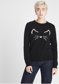 JUMPER 1234 Cat Crew Cashmere Jumper - Black