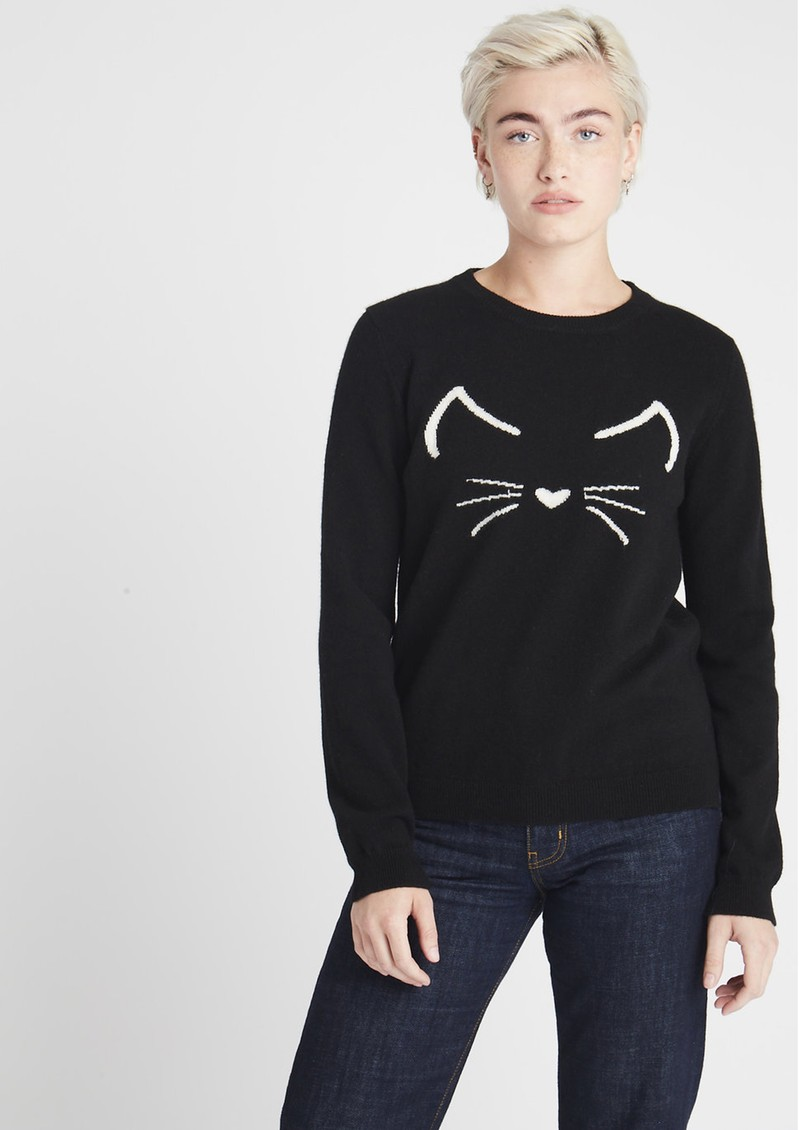 JUMPER 1234 Cat Crew Cashmere Jumper - Black main image