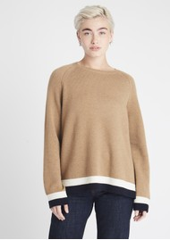 JUMPER 1234 Contrast Stripe Jumper - Toffee