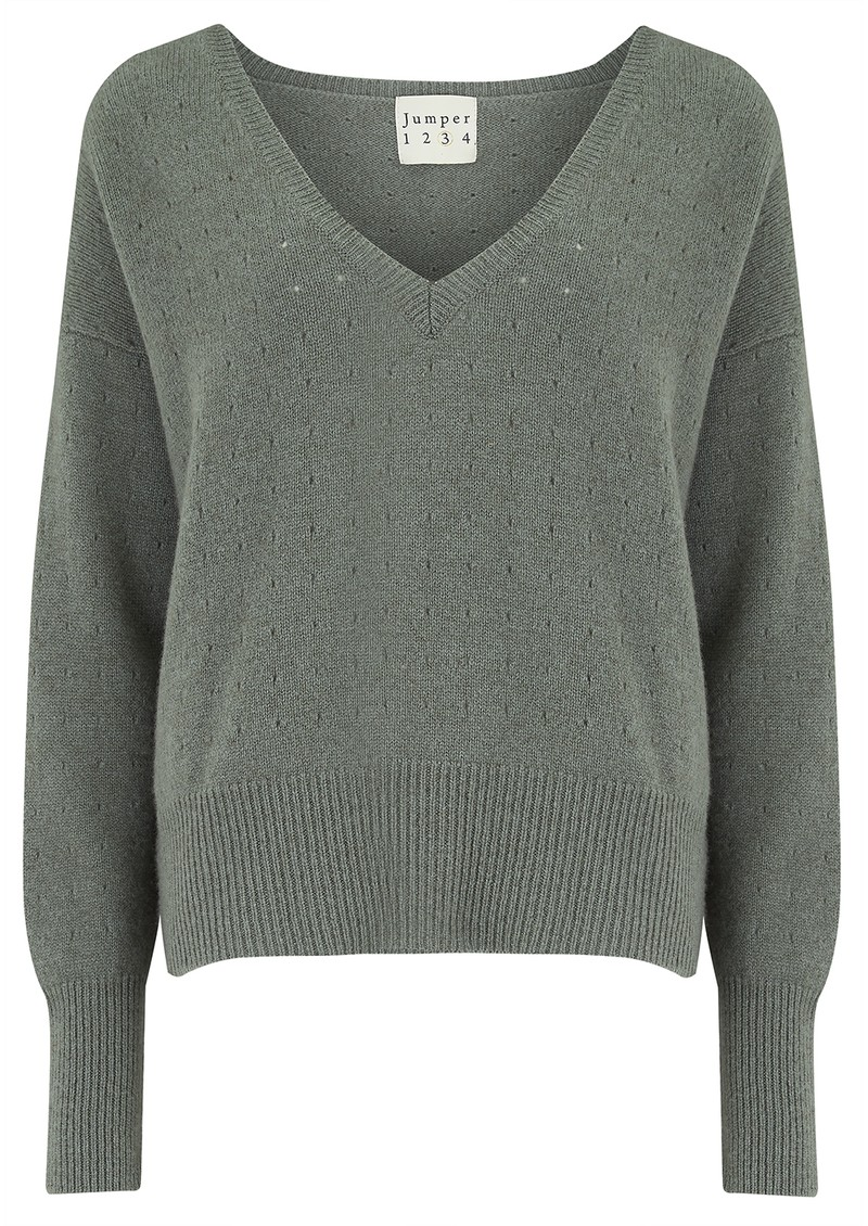 JUMPER 1234 Holy Vee Cashmere Sweater - Moss main image