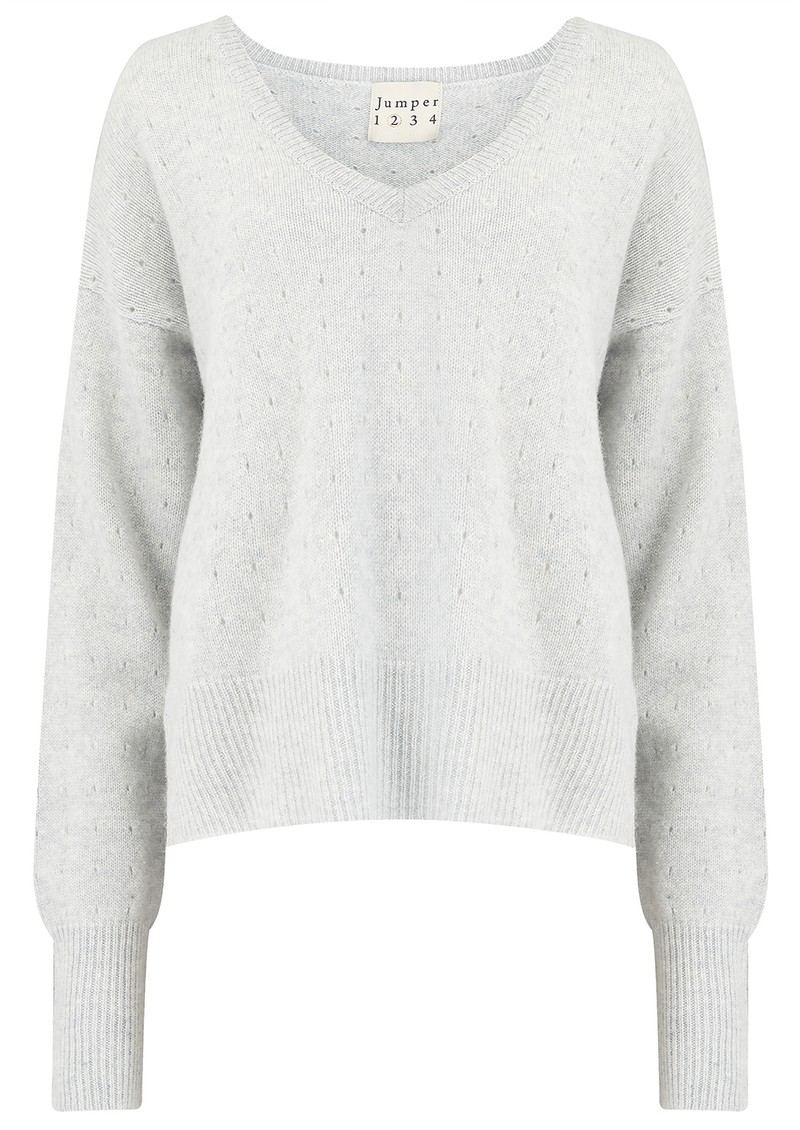 JUMPER 1234 Holy Vee Cashmere Sweater - Super Grey main image