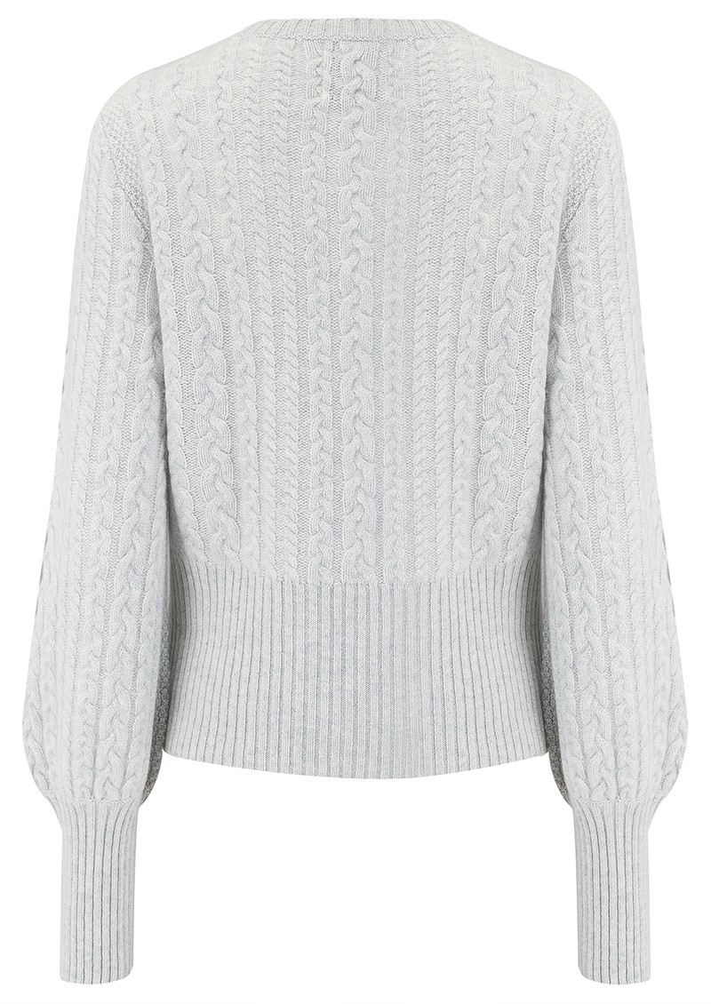 JUMPER 1234 Cropped Cable Knit Cashmere Jumper - Light Grey main image