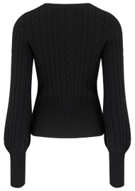 JUMPER 1234 Cropped Cable Knit Cashmere Jumper - Black