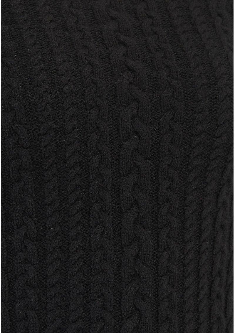 Cropped Cable Knit Cashmere Jumper - Black main image