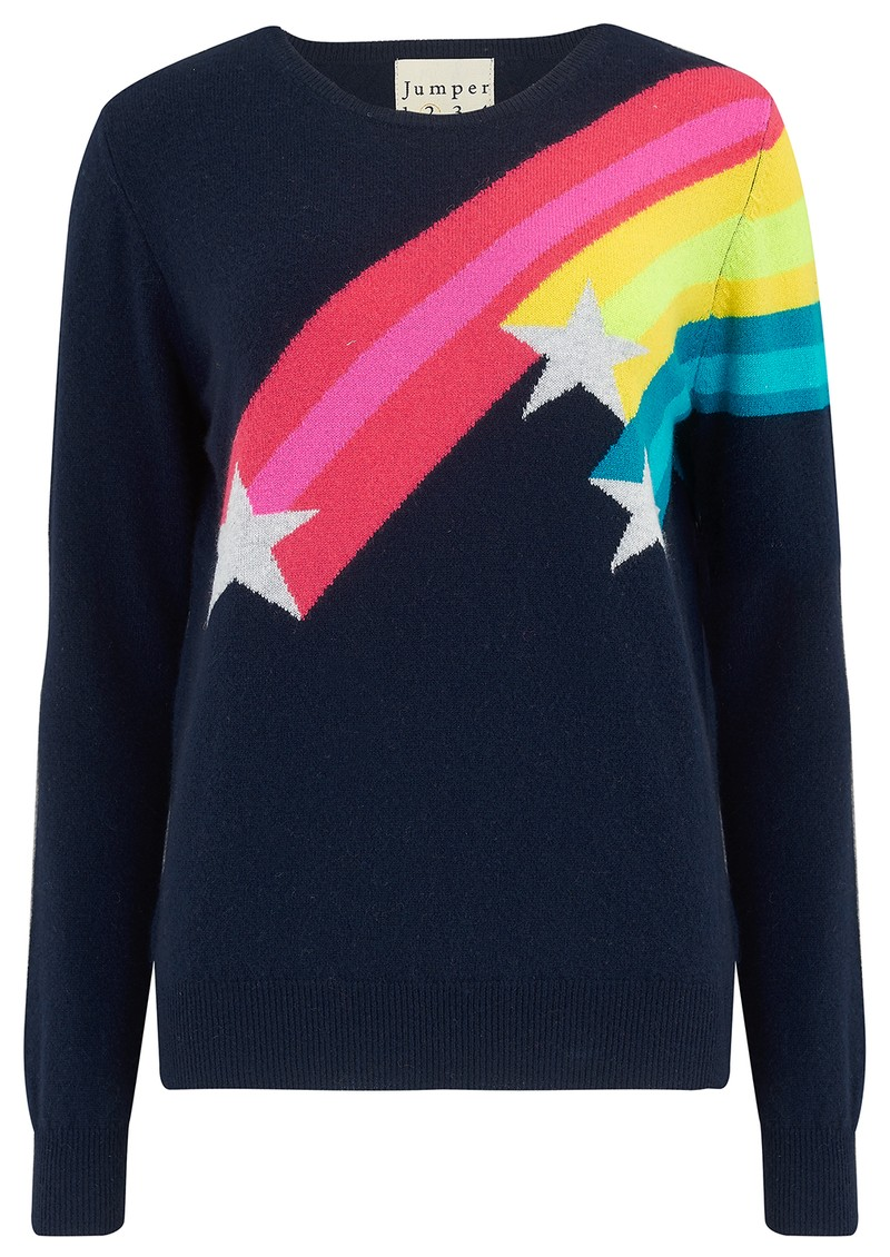 JUMPER 1234 Shooting Star Crew Cashmere Jumper - Navy main image