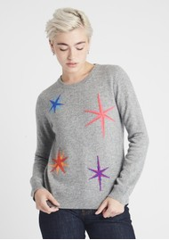 JUMPER 1234 Multi Star Cashmere Crew Jumper - Grey
