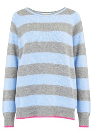 JUMPER 1234 Striped Boyfriend Cashmere Jumper - Grey, Blue & Pink