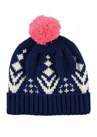MISS POM POM Alpine Beanie Pom Pom Hat - Navy
