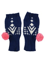 MISS POM POM Alpine Fingerless Gloves - Navy