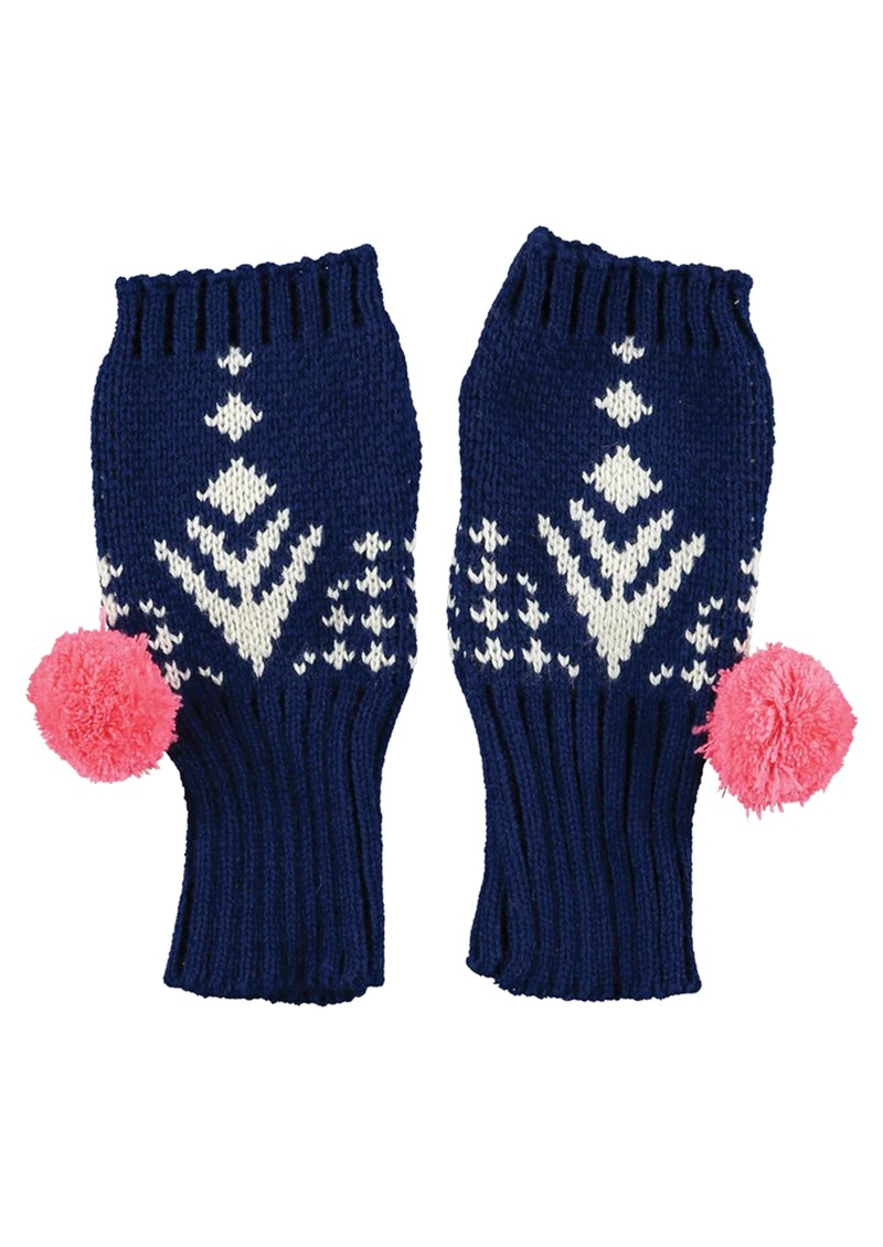 MISS POM POM Alpine Fingerless Gloves - Navy main image