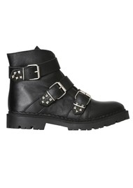 SHOE THE BEAR Hailey Buckle Leather Boots - Black