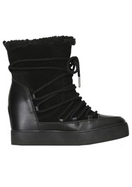 SHOE THE BEAR Trish Wool Lace Up Suede Boot - Black