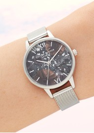 Olivia Burton Celestial Midi Dial Mesh Watch - Silver