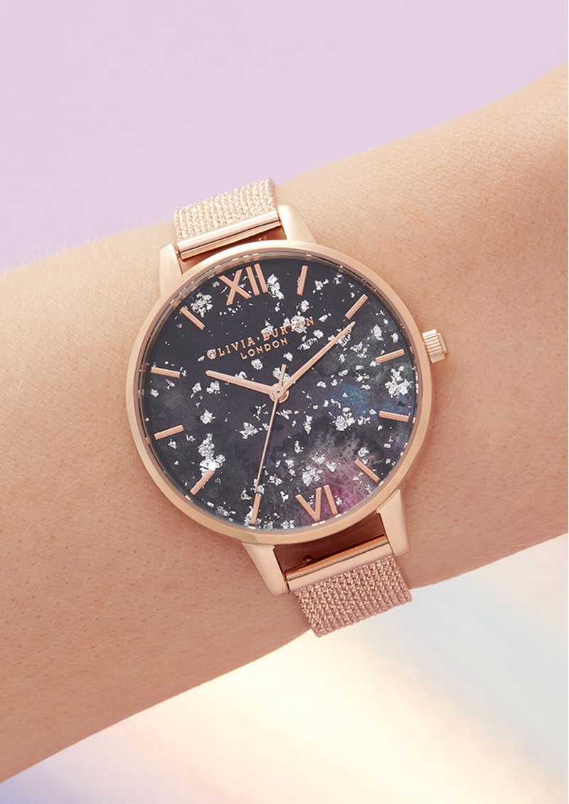 Olivia Burton Celestial Demi Dial Boucle Mesh Watch - Rose Gold main image
