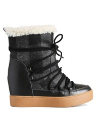 SHOE THE BEAR Trish Wool Check Lace Up Suede Boot - White & Black