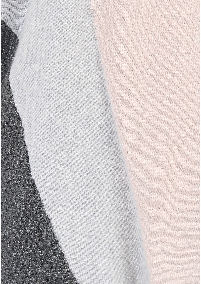 COCOA CASHMERE Lurex Colour Block Cashmere Jumper - Ash Cloud main image