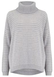 COCOA CASHMERE Lurex Textured Roll Neck Cashmere Jumper - Grey & Cream