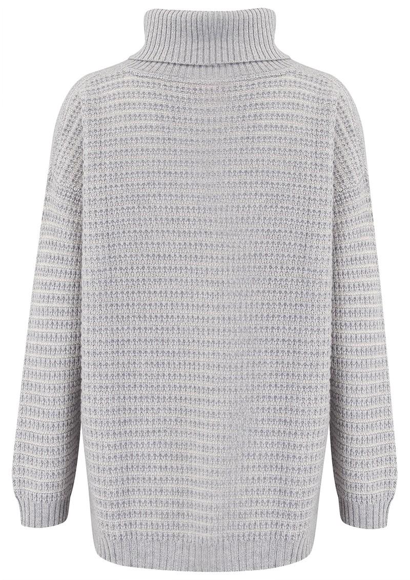 COCOA CASHMERE Lurex Textured Roll Neck Cashmere Jumper - Grey & Cream  main image