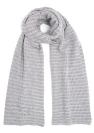 COCOA CASHMERE Lurex Textured Cashmere Scarf - Grey & Cream