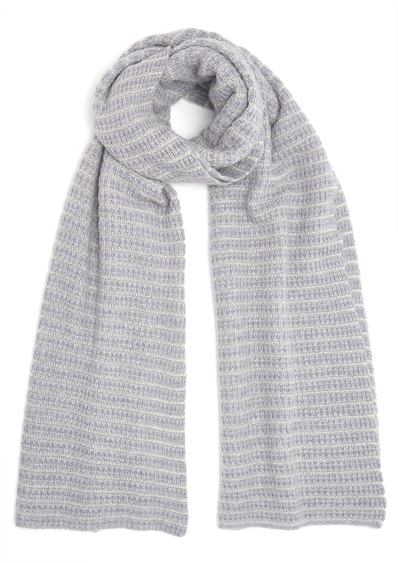 Lurex Textured Cashmere Scarf - Grey & Cream main image
