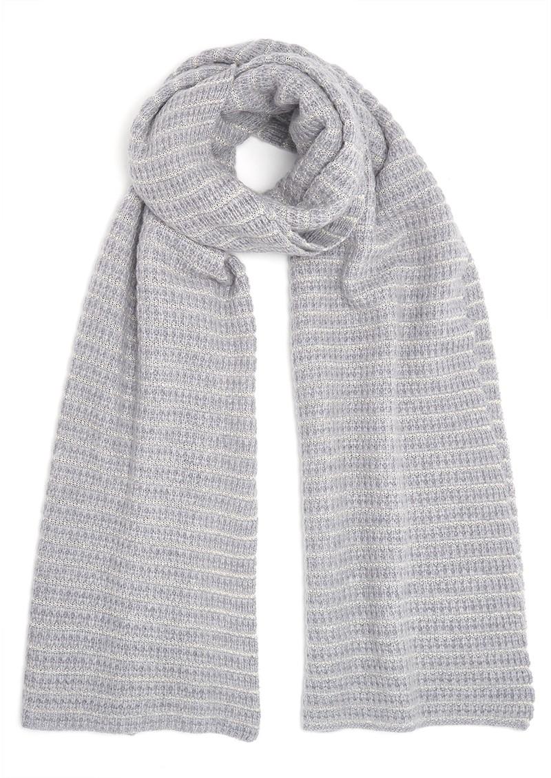 COCOA CASHMERE Lurex Textured Cashmere Scarf - Grey & Cream main image