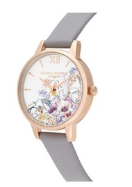 Olivia Burton Enchanted Garden Midi Dial Watch - Grey Lilac & Pale Rose Gold