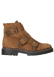 SHOE THE BEAR Hailey Buckle Suede Boots - Brown