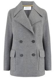 HARRIS WHARF D.B Military Double Breasted Coat - Grey Mouline