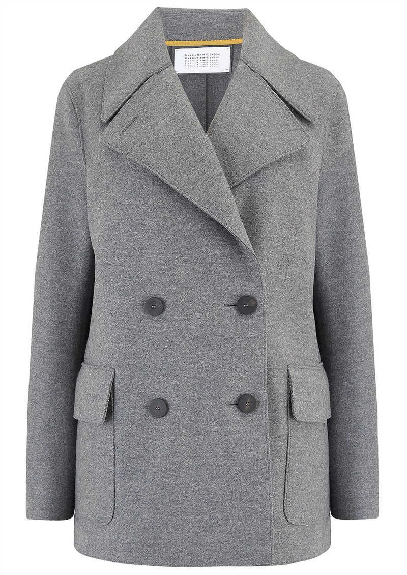 HARRIS WHARF D.B Military Double Breasted Coat - Grey Mouline main image