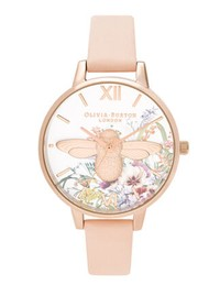 Olivia Burton Enchanted Garden Moulded Bee Demi Dial Watch - Nude Peach & Pale Gold