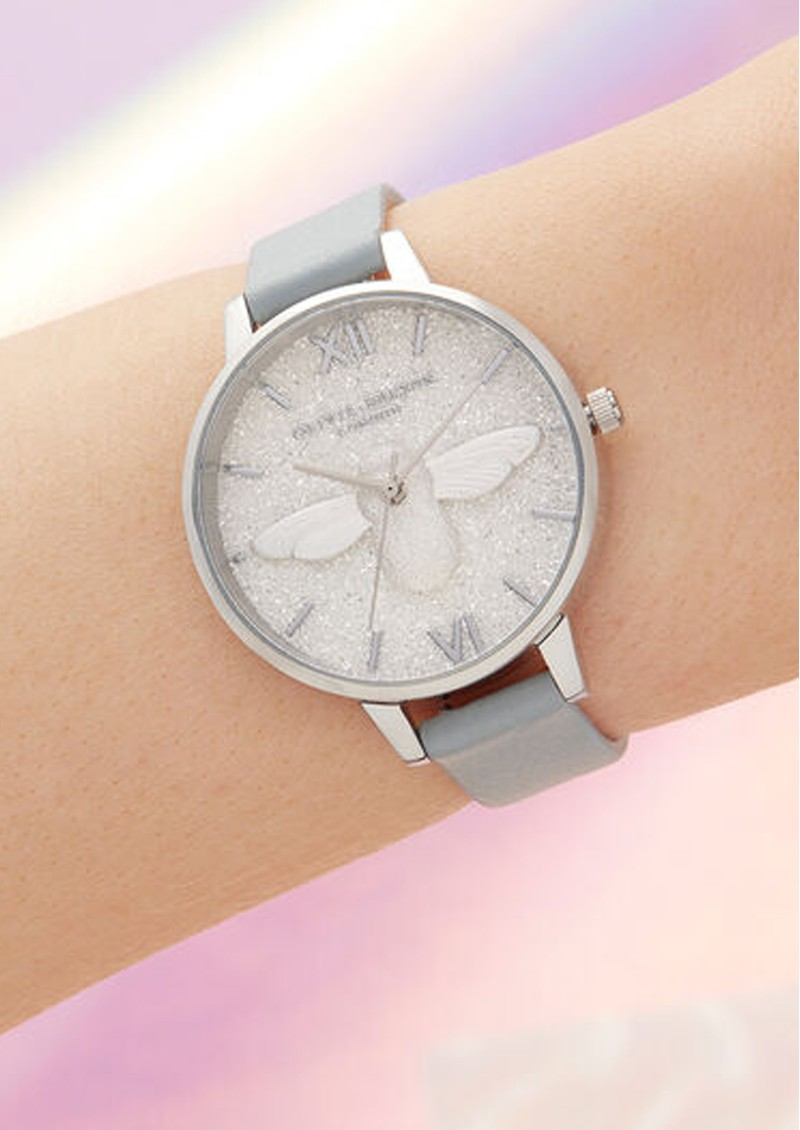 Olivia Burton Glitter 3D Bee, Eco Demi Dial Watch - Light Grey & Silver main image