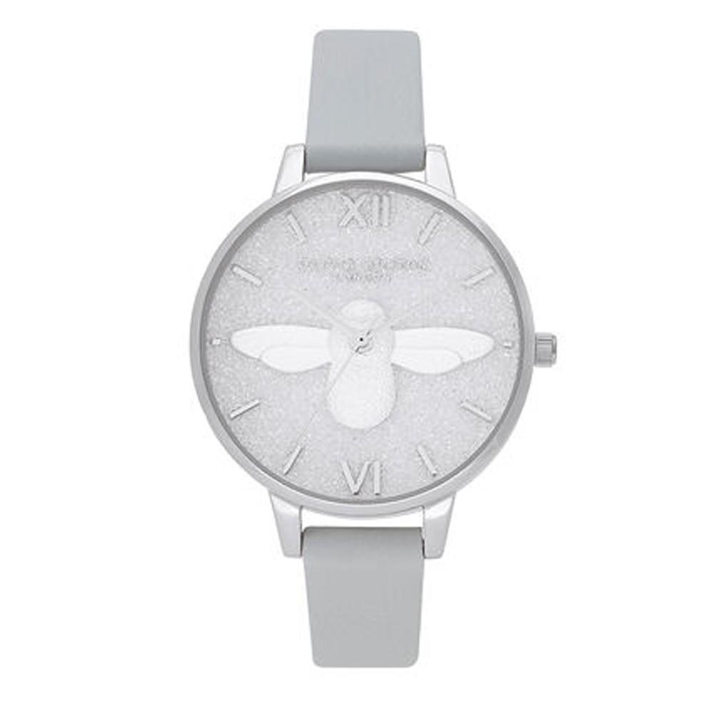 Glitter 3D Bee, Eco Demi Dial Watch - Light Grey & Silver
