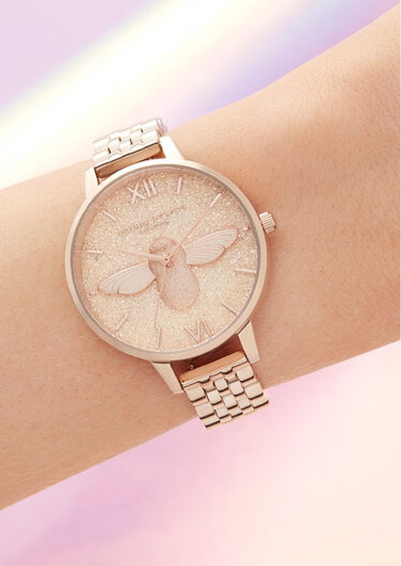 Glitter 3D Bee Demi Dial Bracelet Watch - Pale Rose Gold Bracelet main image