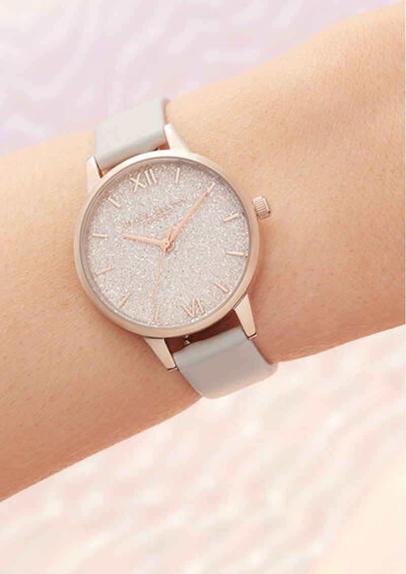 Olivia Burton Glitter Vegan Friendly Midi Dial - Blush & Pale Gold main image