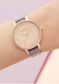 Olivia Burton Glitter Demi Dial Watch - Grey, Lilac & Pale Rose Gold