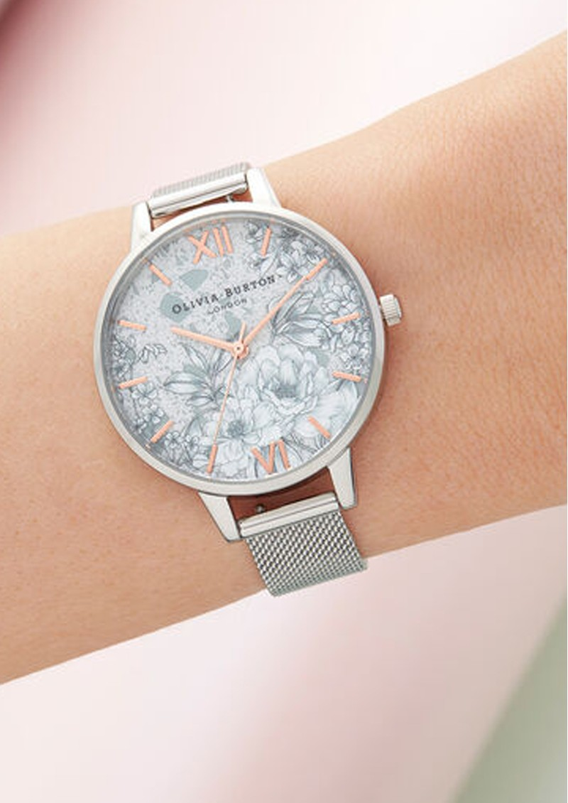 Terrazzo Florals Demi Dial Mesh Watch - Rose Gold & SIlver main image