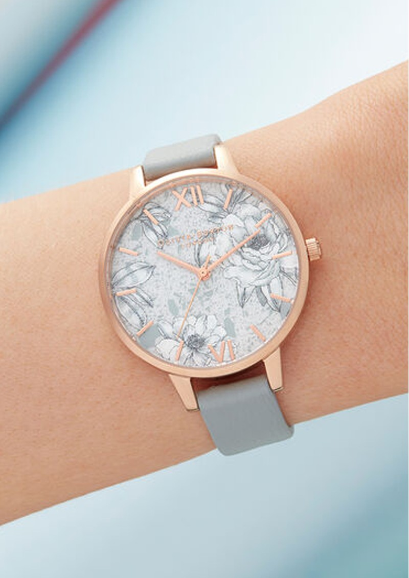 Olivia Burton Terrazzo Florals Eco Demi Dial Watch - Grey & Rose Gold main image