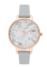 Olivia Burton Terrazzo Florals Eco Demi Dial Watch - Grey & Rose Gold
