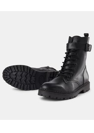 SHOE THE BEAR Hailey Lace Up Leather Boots - Black