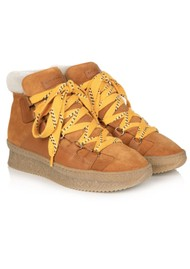 AIR & GRACE Hester Shearling Chunky Suede Hiking Boots - Tan
