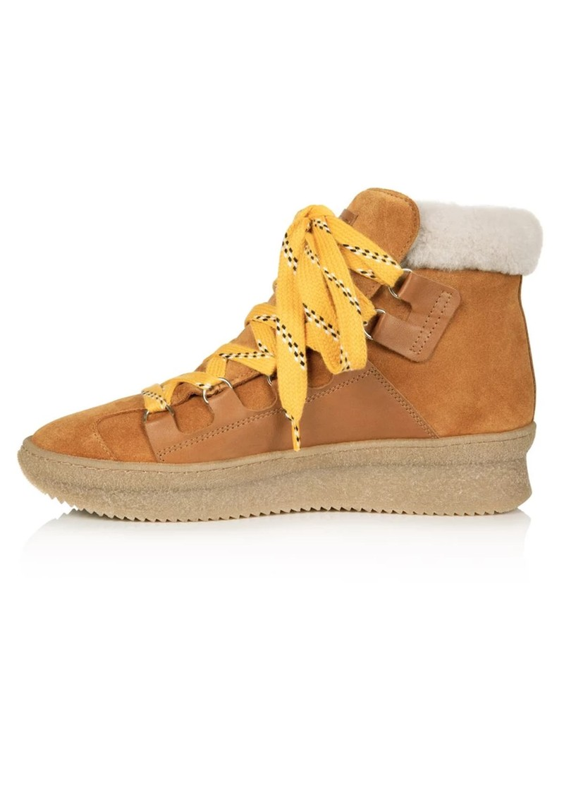 AIR & GRACE Hester Shearling Chunky Suede Hiking Boots - Tan main image