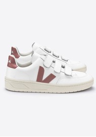 VEJA V- Lock Leather Trainers - Extra White & Dried Petal