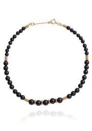 ANNA BECK Stargaze Onyx Beaded Choker - Gold