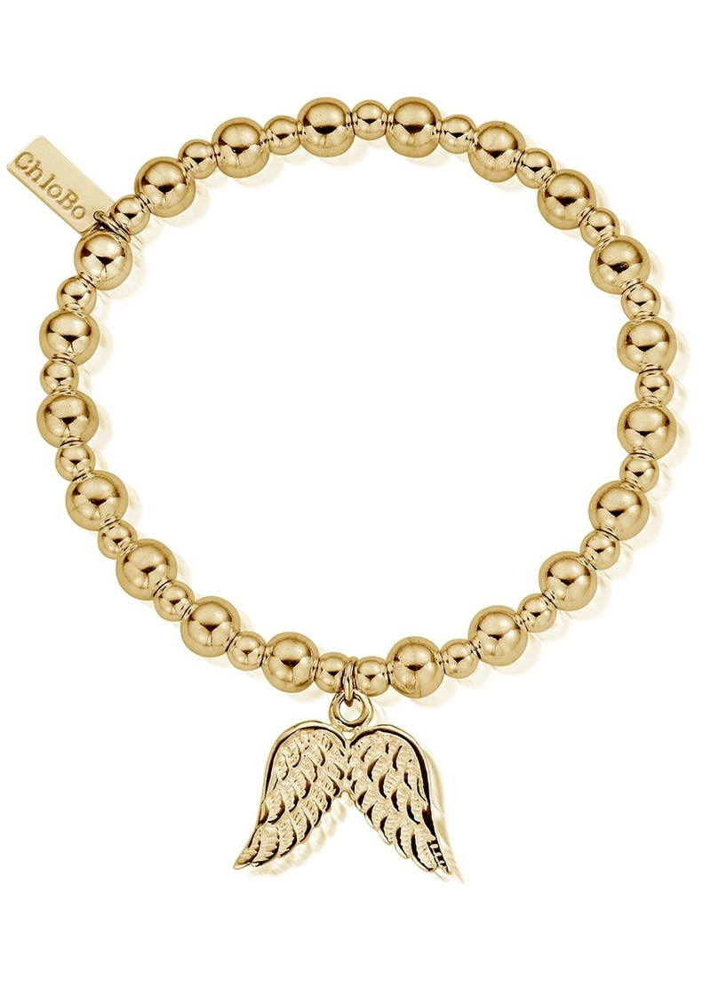 ChloBo Mini Small Ball Bracelet With Double Wing Charm - Gold main image