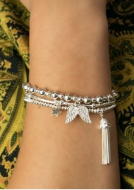 ChloBo Mini Small Ball Bracelet With Double Wing Charm - Gold